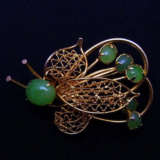 アンティークブローチ ゴールド グリーン 樹脂